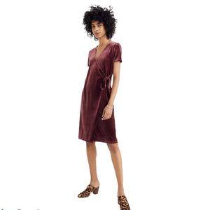 Madewell Burgundy Velvet Side Tie Dress XS